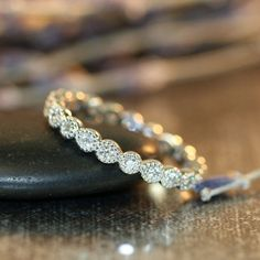 Vintage Inspired Bezel Set Diamond Wedding Ring 14k White Gold Diamond Eternity Band Anniversary Ring (Custom Ring ok) on Etsy