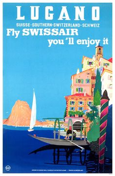Lugano Switzerland Travel Poster Swissair Print