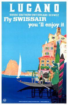 Lugano Switzerland Travel Poster Swissair Print