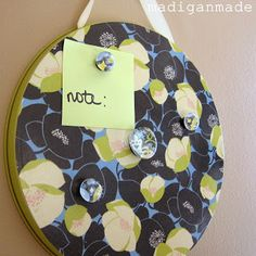 Magnetic memo boards: made from dollar store burner covers! ~ Madigan Made