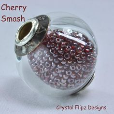 Cherry Smash Hollow Lampwork Worry Bead filled with Frosted Cherry Red vintage micro seed beads