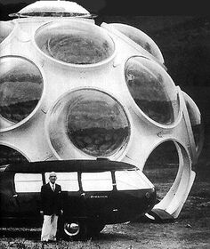 Buckminster Fuller with Dymaxion car and Fly's Eye Dome.