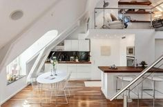 Smart Designs Features Maximize Space Attic Apartment - Page 53 of 73 Attic Apartment, Apartment Design, Attic Rooms, Studio Apartment, Small Rooms, Small Spaces, Townhouse Interior, Room Set, Small Living