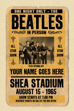 Your Name on a Beatles concert poster digital heavy poster - you are the opening act Die Beatles, Beatles Poster, Gig Poster, Tour Posters, Band Posters, Music Posters, Event Posters, Vintage Concert Posters, Vintage Posters