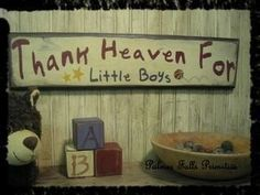 Items similar to Primitive Nursery Childrens Thank Heaven For Little Boys Wood Sign Wall Decor on Etsy