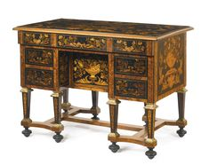 A Louis XIV parcel-gilt ebony, kingwood, fruitwood and marquetry bureau brisé, in the manner of Pierre Gole, the legs later. Sotheby's