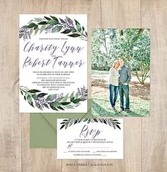 Greenery and lavender wedding invitation suite.  Sherton font.  Classic invitation design with watercolor greenery and lavender.  Pretty wedding invitation paper.