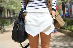 Zara skort, stripes, & Alexander Wang