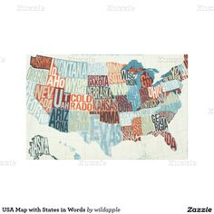 #USA Map with States in Words Canvas Prints