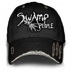 63de1d1c628 Black swamp people hat featuring white writing and designs on top and edge  of the hat