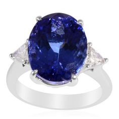 ILIANA 18K White Gold Tanzanite and Diamond Ring | Liquidation Channel