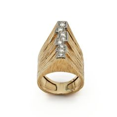 Andrew Grima  Gold Ring, 1973  Yellow Gold set with an irregular ribbon of Diamonds.