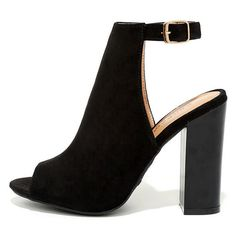 Budding Romance Black Suede Peep-Toe Booties (1,595 DOP) ❤ liked on Polyvore featuring shoes, boots, ankle booties, heels, sapatos, zapatos, black, peep toe heel booties, cut-out booties and black heeled boots
