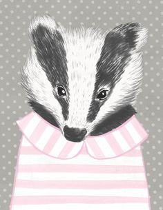 Badger Portrait Art Print