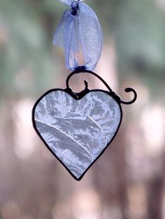 stained glass ornaments | Jack Frost's Blue Heart Stained Glass Ornament by newmoonglass