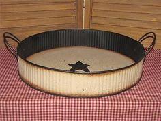 primitive metal tray handles crackle black star farmhouse country home decor
