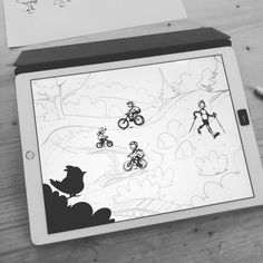 Drawing people on bikes for @flyingmetalcrew   #enduromtb #illustration #art #sketch