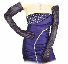 "70cm(27.6"") long mid zipper top quality leather evening/opera gloves*purple | eBay"