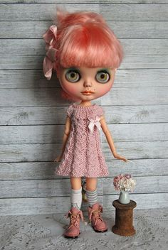 Blythe Doll Knitted Alpaca and Silk Dress by AuntieShrews