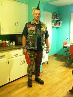 Punk vest and pants.