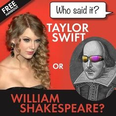Add a modern twist to your study of Shakespeare with this fun but challenging handout where students will determine whether lines of text are taken from Taylor Swift songs or William Shakespeares play, The Tragedy of Romeo and Juliet. This free 2-page PDF has a student handout and an answer key, including the song title of the Swift lyrics and the act/scene/speaker of each Shakespearean line.By the end of the activity, students will see that The Bards language can be pretty easy to…