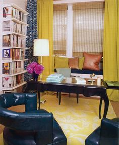 Curtains Layered + Golden Yellow & Navy + Madeline Weinrib Lemon Toile Tibetan Carpet + Turquoise Luce Ikat Curtain (Celerie Kemble's Office Featured In Celerie Kemble: To Your Taste)