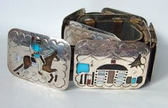 Navajo Sterling Silver Storyteller Belt 9 panels by MagpieAntiques
