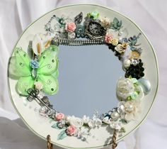 mirrored plates pinterest | Vintage China Plate Mirror Embellished | Vintage dishes I must have