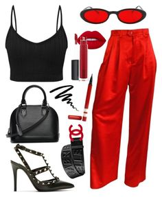 """Black N' Red"" by kayascodellc ❤ liked on Polyvore featuring ESCADA, Lime Crime, John Lewis, Valentino, Louis Vuitton, Gucci, Bobbi Brown Cosmetics, black, red and eyeliner"