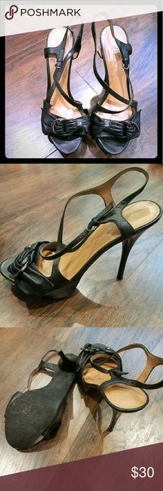 Guess Black Leather High Heel Size 9 Worn a couple of times. No scuffs at all. Super comfortable 5 inch heel with 1.5 inch platform. Guess Shoes Heels