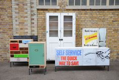Examples of the upcycled furniture made by Rupert Blanchard of London