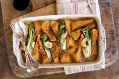 Pumpkin braised in miso with brown rice and greens recipe, Viva – visit Eat Well for New Zealand recipes using local ingredients - Eat Well (formerly Bite) Vegetable Sides, Vegetable Recipes, Potatoes Anna, Great Vegan Recipes, Braised Lamb Shanks, Food Hub, Braised Beef, Greens Recipe, Brown Rice