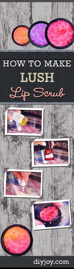 Easy DIY Beauty Recipes - Homemade Lush Lip Scrub Tutorial. Super DIY Project Idea for Teens.: