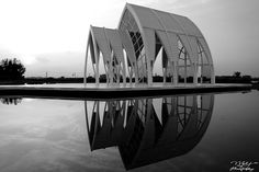 The reflection of the church in the water of the lake ~ Crystal Church, Beimen District, Tainan City, Taiwan