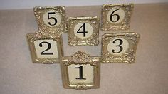 Vintage frames x 6 wedding table centrepiece name number holders gold | eBay