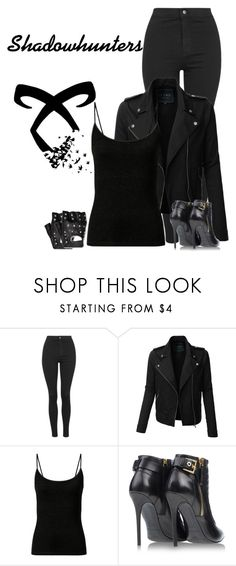 """Shadowhunters costume idea"" by hxrrybae ❤ liked on Polyvore featuring Topshop, LE3NO, Rune NYC, Gianmarco Lorenzi, outfit, black, claryfray, shadowhunters and themortalinstruments"