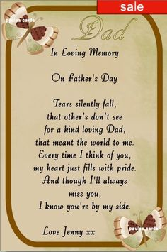 KEEP SAKE IN LOVING MEMORY ,DAD, FATHER S DAY Any Relative or Name.