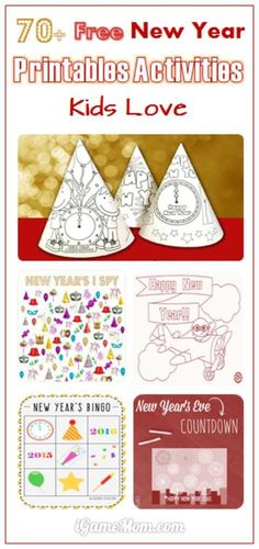 Over 70 wonderful and free New Year Printable Activities for kids, coloring page, new year's hat, … enjoy the New Year's Eve and to celebrate the New Year with the whole family. New Year's Eve Crafts, Holiday Crafts, Holiday Fun, Crafts For Kids, New Year's Eve Activities, Printable Activities For Kids, Holiday Activities, Counting Activities, New Years Hat
