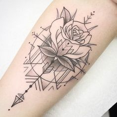 52 Unique Rose Tattoo Ideas - # - My list of the most creative tattoo models Mini Tattoos, Flower Tattoos, Body Art Tattoos, Tattoo Drawings, Sleeve Tattoos, Key Tattoos, Butterfly Tattoos, Tatoos, Wrist Tattoos For Women