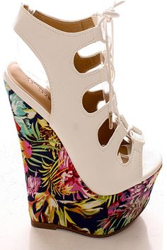 WHITE FAUX LEATHER OPEN TOE LACE UP DESIGN PLATFORM 6 INCH WEDGE HEEL