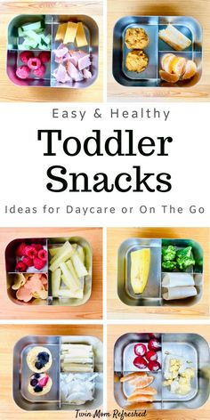 Easy Toddler Snack Ideas Healthy snacks for toddlers that are low prep and good for on the go! These snack ideas or mini meals for toddlers or little kids are easy to prepare and full of nutrition! Daycare snack ideas or snacks when you leave the house. Easy Toddler Snacks, Toddler Lunches, Healthy Toddler Meals, Healthy Snacks For Kids, Kids Meals, Simple Snacks, Toddler Food, Meals For Toddlers, Daycare Meals