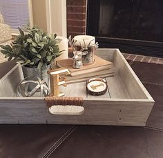 Large Wooden Whitewashed Tray |Wooden Serving Tray | Ottoman Tray with Twine Handles | Gray Painted Tray & Large Wooden Whitewashed Tray |Wooden Serving Tray | Ottoman Tray ...