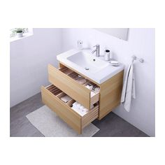 GODMORGON / ODENSVIK Sink cabinet with 2 drawers, white stained oak effect white stained oak white stained oak effect 31 1/2x19 1/4x25 1/4