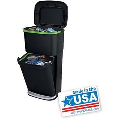 Walmart Outdoor Trash Cans Gorgeous Rubbermaid Double Decker 2In1 Recycling Modular Bin With Linerlock Inspiration Design