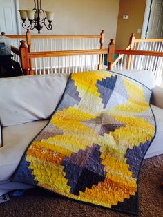 https://flic.kr/p/imDu9m | Palace Steps ~ finished. | My latest do.Good Stitches {Faith Circle} quilt.  My awesome circle used gray solids and a range of yellow scraps to make this beauty! I quilted meandering loops in yellow thread on top, gray on the back. The binding has a *pop* of aqua for fun!  Thanks, ladies!!