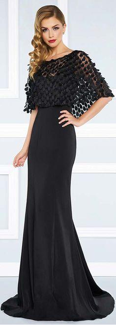 Glamorous Acetate Satin Bateau Neckline Sheath / Column Evening Dresses With 3D Flowers & Beadings