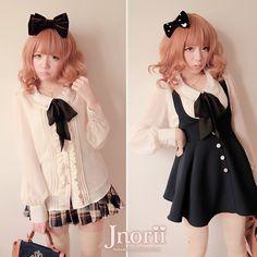 Princess sweet lolita blouse Bobon21 preppy style bow tie pearl accessories chiffon shirt t0975(China (Mainland))