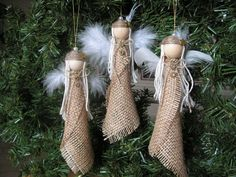 burlap christmas ornaments | Christmas Ornament- burlap angel | Craft Ideas