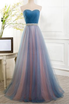 A-Line Tulle Long Prom Dresses Party Evening Gowns 3020356