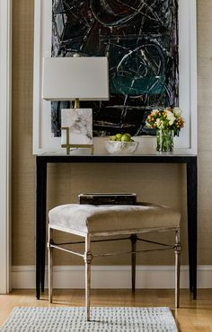 Horse Lover's Retreat - Elms Interior Design - Traditional Entry Console and Tufted Stool